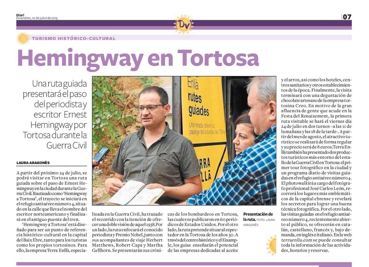 Notícia al Diari de Tarragona sobre la presentació als mitjans de comunicació de la ruta Hemingway a Tortosa.