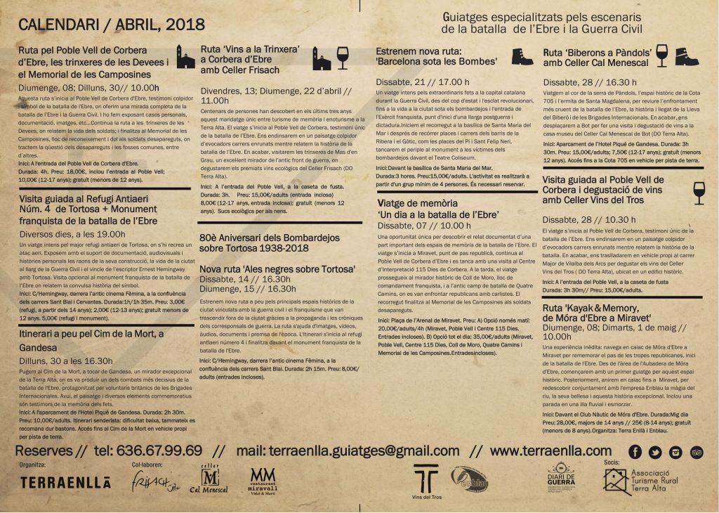 Terra Enllà. Rutes i visites guiades pels espais de la batalla de l'Ebre i la Guerra Civil. Abril, 2018. Pàgina, 2
