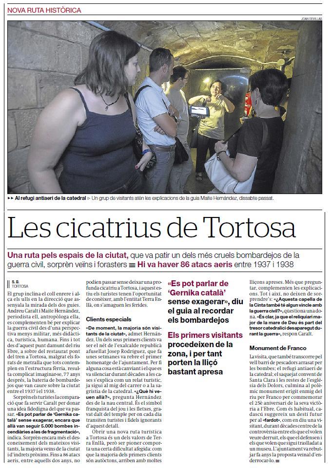 Visita guiada, La Tortosa de la Guerra Civil, 1936-1939. Les cicatrius de Tortosa, article de El Periódico