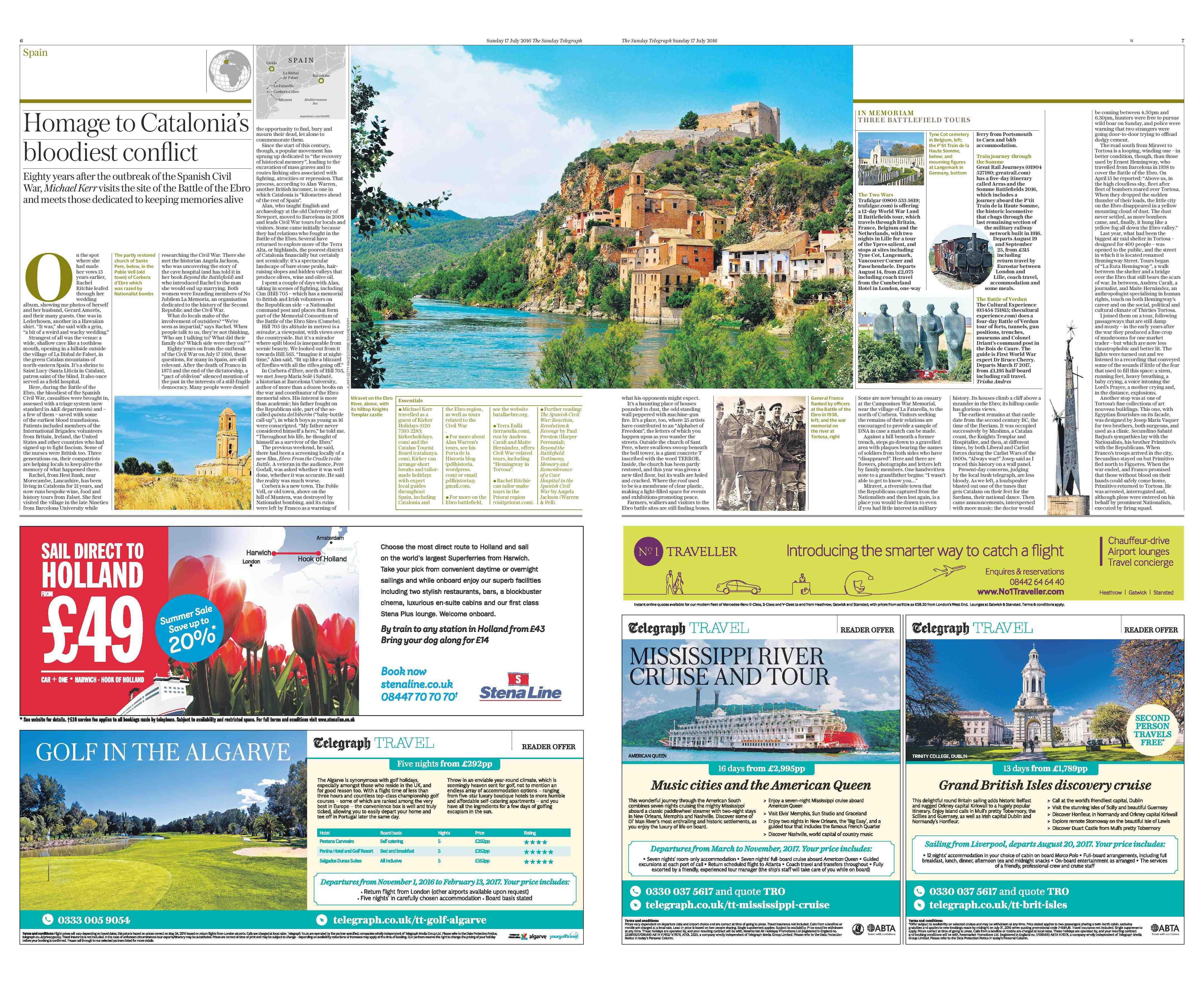 Reportatge del Sunday Telegraph sobre els espais de la batalla de l'Ebre amb crònica de la ruta Hemingway a Tortosa.