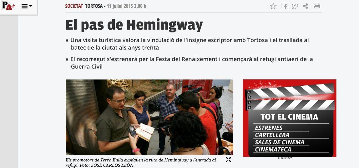 Noticia en el diari El Punt-Aviui sobre la presentación de la ruta Hemingway en Tortosa.
