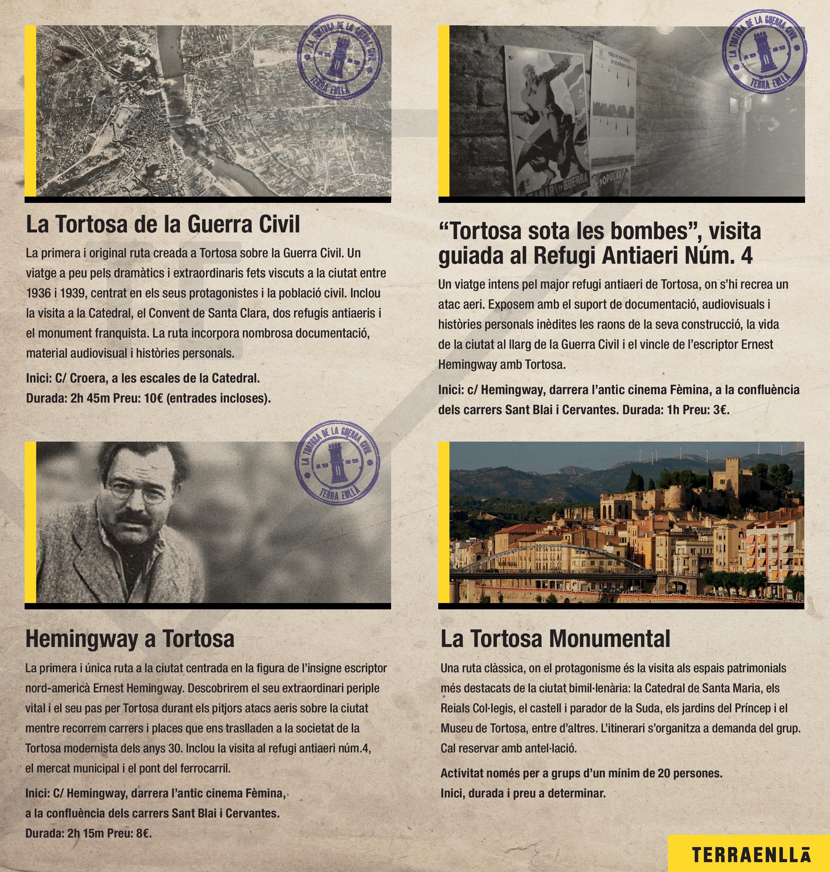 Oferim les rutes de la Tortosa de la Guerra Civil, Hemingway a Tortosa, la visita al refugi antiaeri núm 4 i la Tortosa Monumental.