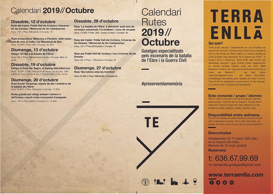 Terra Enllà. Calendari d'octubre 2019. Rutes i visites guiades pels espais de la batalla de l'Ebre i la guerra civil