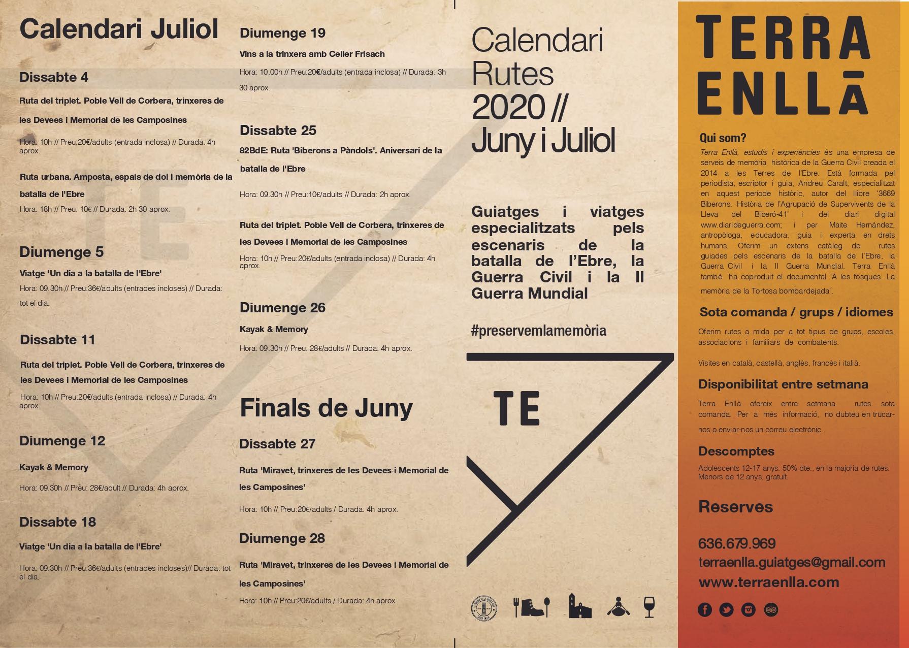 Terra Enllà. Calendari Juliol 2020. Rutes i activitats pels espais de la batalla de l'Ebre