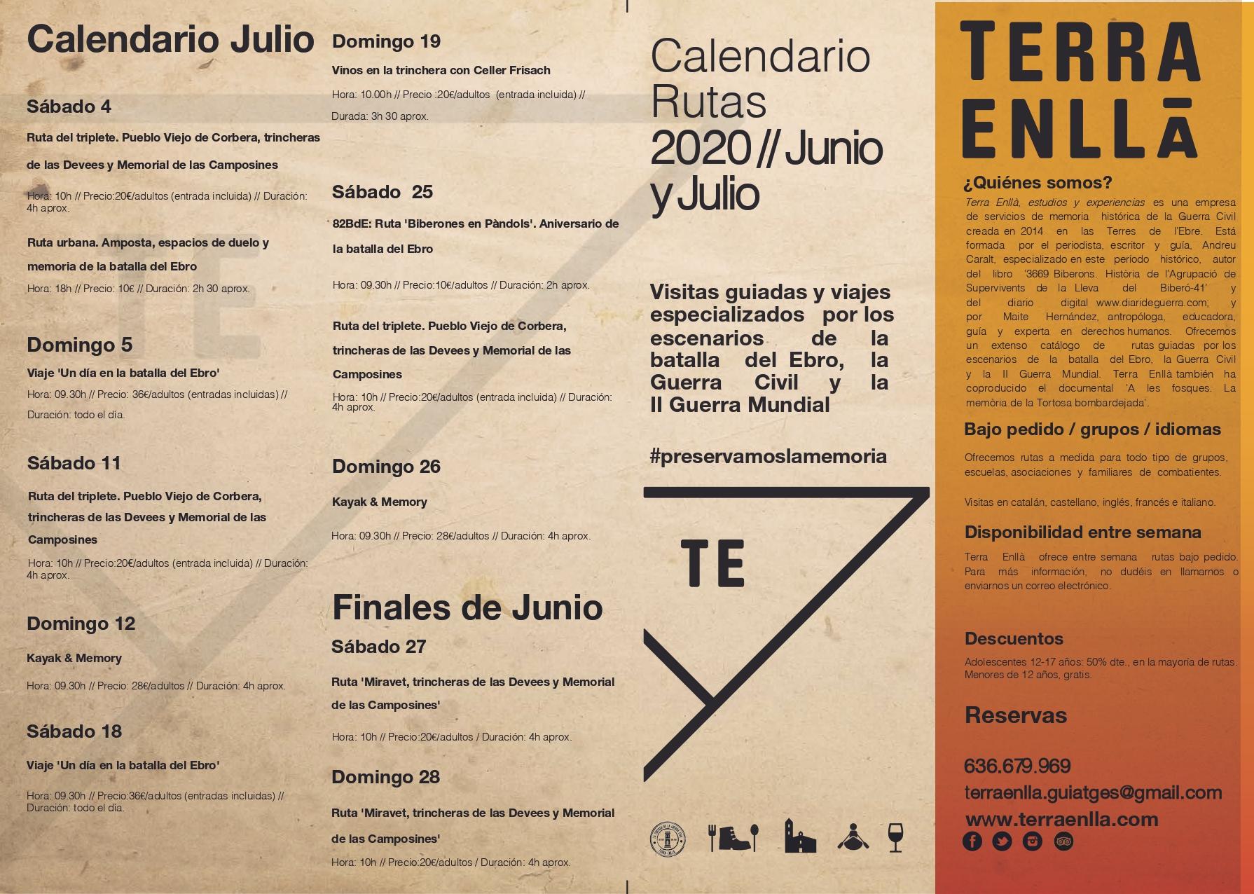 Terra Enllà. Calendario Julio 2020. Rutas y visitas guiadas por los espacios de la batalla del Ebro