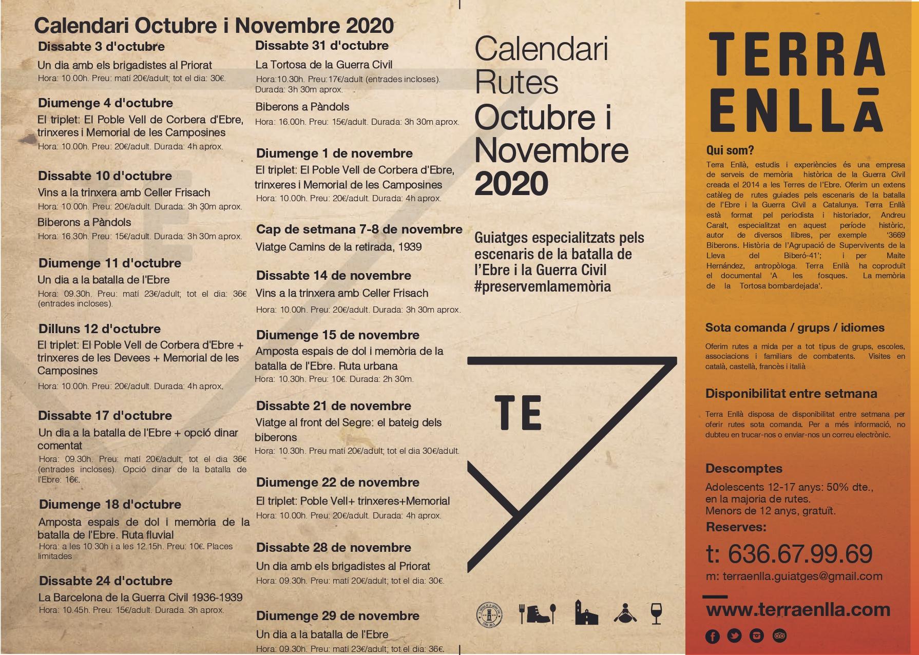 Calendari octubre i novembre 2020. Terra Enllà
