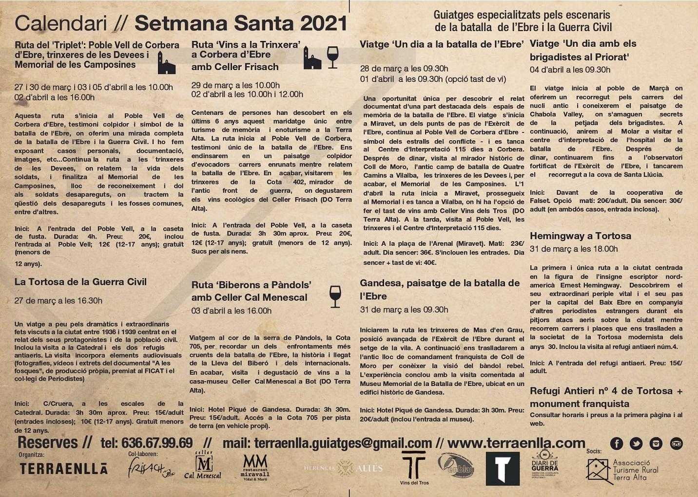 Calendari Setmana Santa 2021 (2). Visita als espais de la batalla de l'Ebre. Terra Enllà