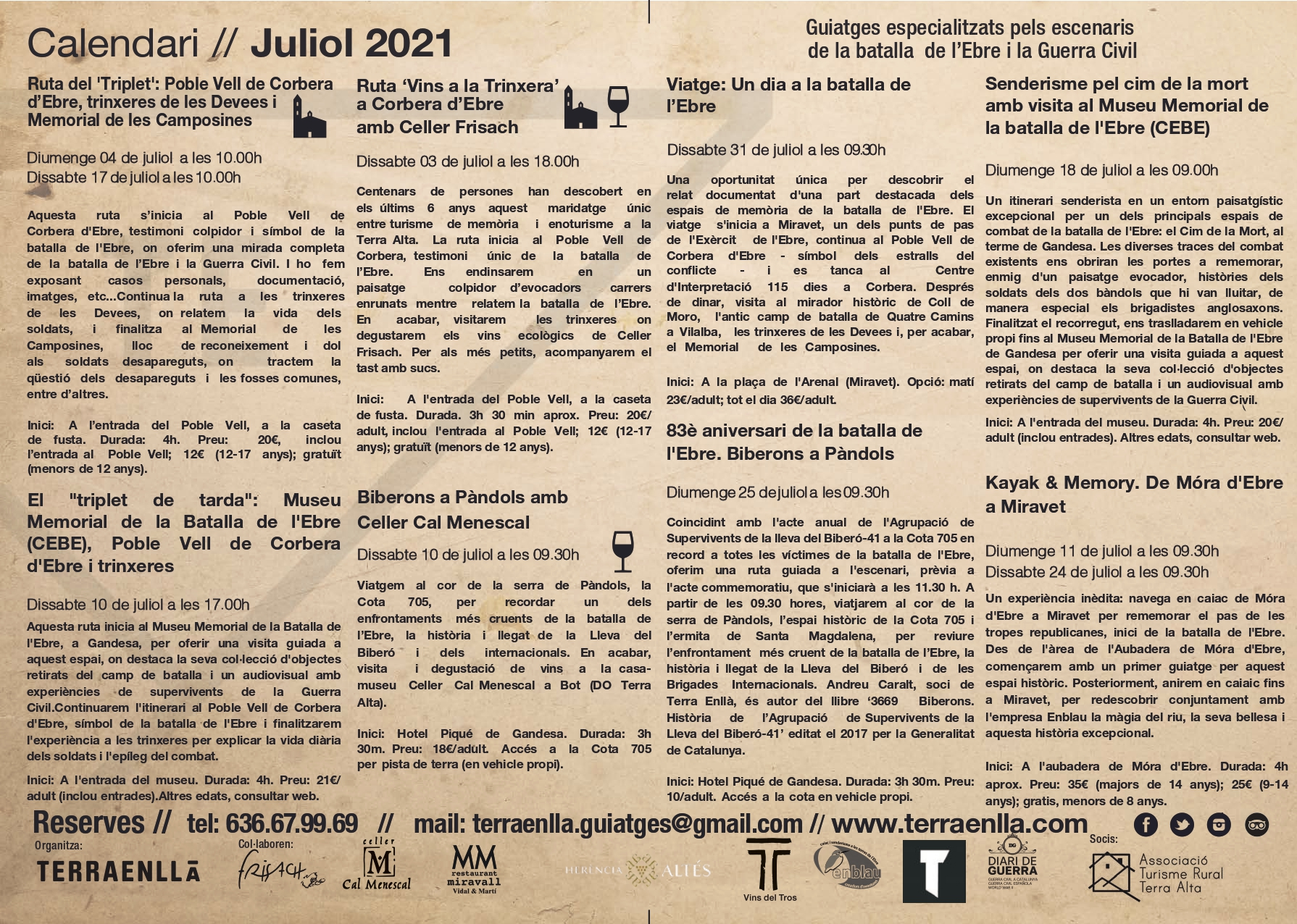Programa Terra Enllà. Juliol, 2021, pàg 2. Espais de la batalla de l'Ebre i la guerra civil